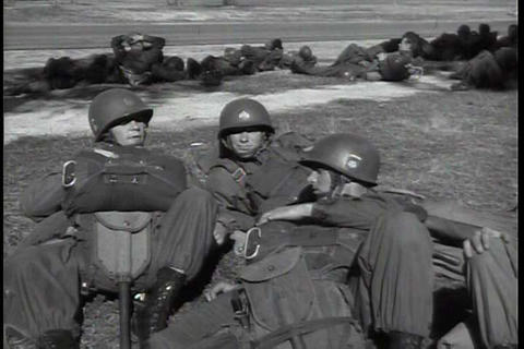 Paratroopers are trained by the U.S. army in 1951 Footage