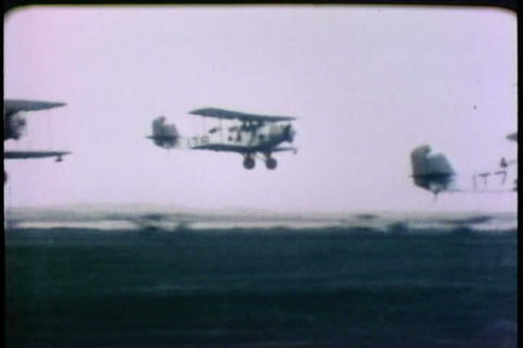 Aircraft carriers are invented and experimented in Footage