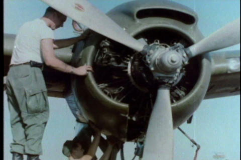 Planes are repaired at Soc Trang, Vietnam in 1966 Live Action