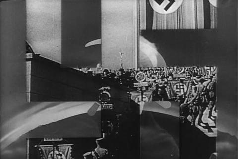 Hitler at Nuremberg entertains a Nazi rally while  Footage