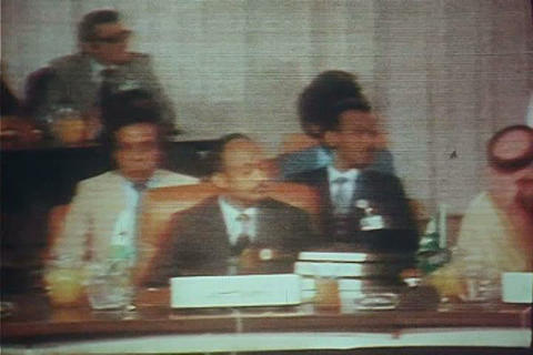 King Hussein of Jordan presides over a meeting of  Live Action