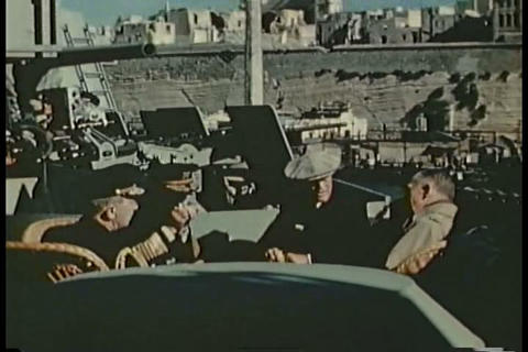 FDR surveys damage from the war on Malta in 1945 Footage