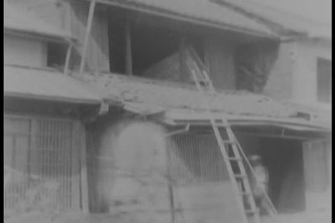 A Huge Earthquake Hits Japan In 1931 stock footage
