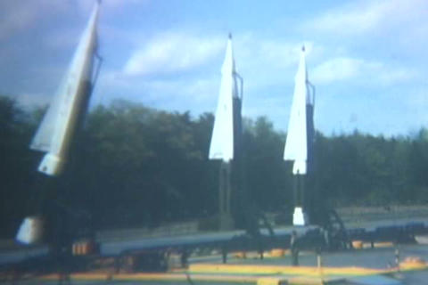 ICBM short range missiles on the launchpad in the  Footage