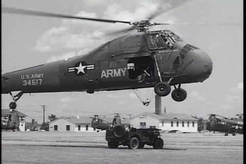 Helicopters are used in the Korean War to airlift  Footage