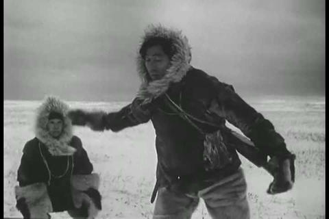 Eskimos hunt for caribou in the late 1940s Footage