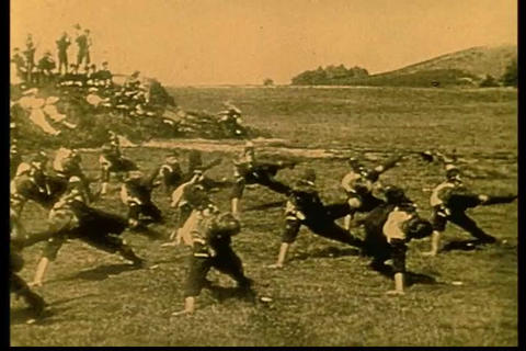 Young men of the Boy Scouts exercise in the 1920s Footage