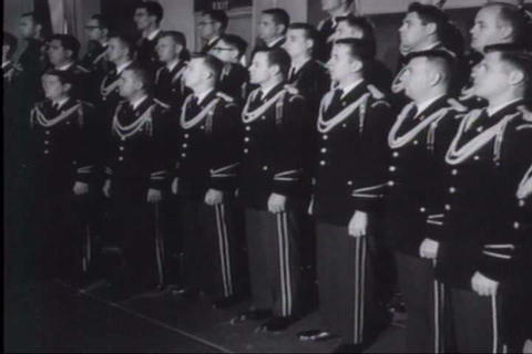 The Army's band performs a patriotic song in 1961 Footage