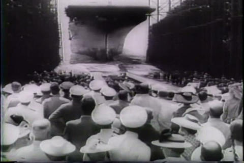 U.S. launches new aircraft carrier in World War Tw Footage