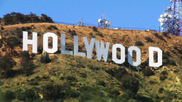 Hollywood Sign, Close with Foreground Stock Video Footage