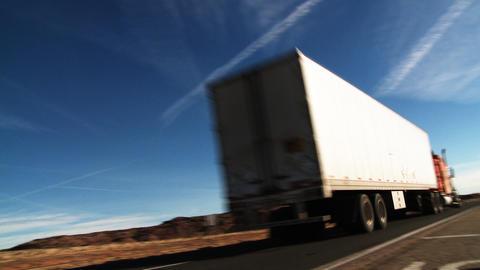 Interstate Highway Semi Truck 01 stock footage