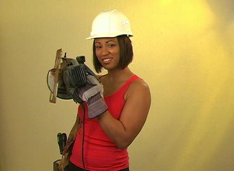 Beautiful Female Construction Worker Footage