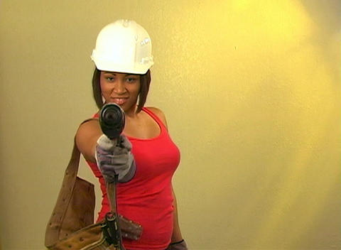 Beautiful Female Construction Worker Stock Video Footage