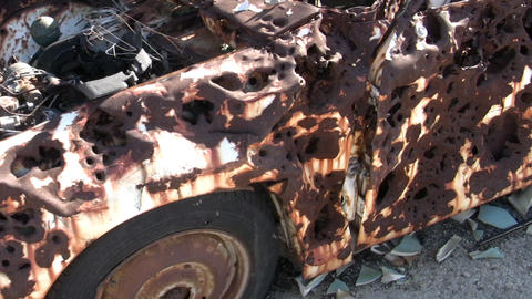 Targeted car, full of holes Stock Video Footage