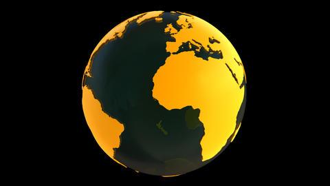Yellow Earth Globe Animation