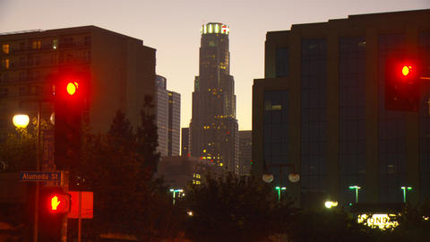 LA Skyline, Day to Night (Time Lapse) Stock Video Footage