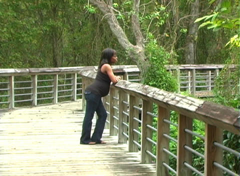 Beautiful Pregnant Woman Walking Outdoors (2) Footage