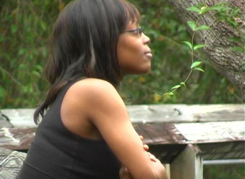 Beautiful Pregnant Woman on a Boardwalk (1) Stock Video Footage