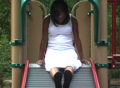 Beautiful Pregnant Woman on a Playground (2) Footage