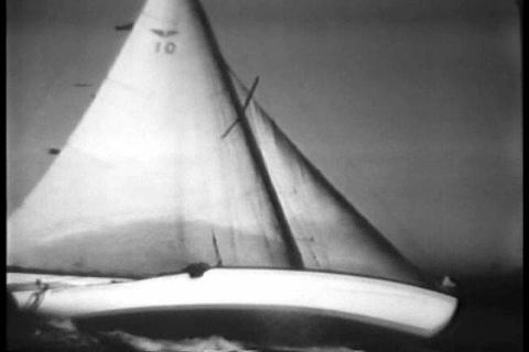 A yacht race in San Francisco on rough seas in 193 Footage