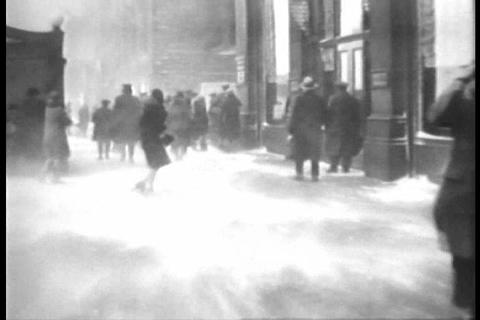 A huge blizzard hits Chicago in 1929 Footage