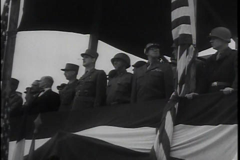 The French Cheer The U.S. Army As It Moves Into De stock footage