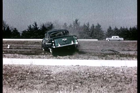 Car crash in extreme slow motion in the 1960s Live Action