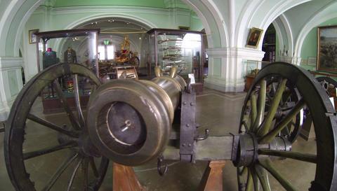 Ancient gun, firing cores 2.7K Footage