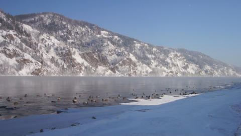 Winter Yenisei Divnogorsk 02 Footage