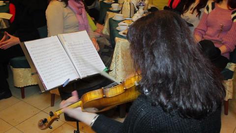 Woman Playingon Violin Footage