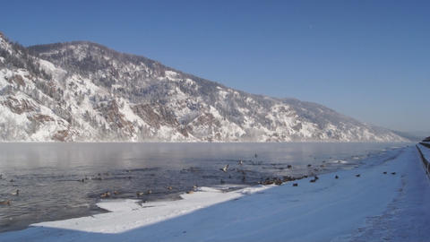 Winter Yenisei Divnogorsk 03 Footage