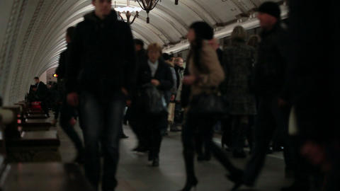 Rush Hour At The Moscow Subway stock footage