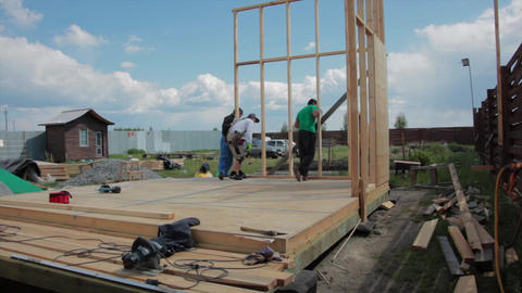 Building Of A Framework House stock footage