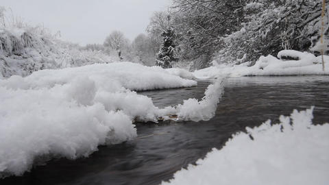 winter river and hoarfrost Footage