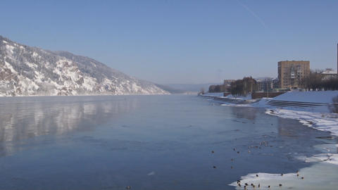 Winter Yenisei Divnogorsk View Footage