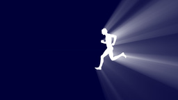 Running Man With Volumetric Light Effect stock footage