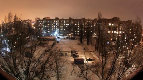 Winter. Buildings with flats at night, timelapse Footage