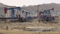 Field of nodding oil pumpjacks in Azerbaijan Footage
