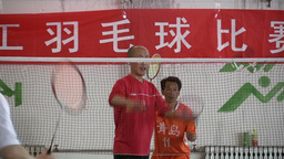 Badminton match in China Footage
