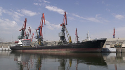 Unloading Cargo Ship In Baku Port, Along The Caspi stock footage