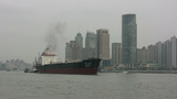 Cargo Ship On Huangpu River In Shanghai stock footage