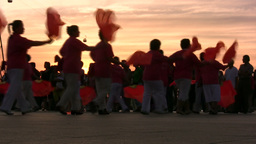 China, Senior Women Are Dancing In Sunset, Using F stock footage