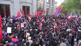 Burning Turkish flag in Armenia, Genocide Memorial Footage
