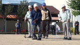 Gateball In Japan, Senior People Playing stock footage