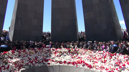 Armenia, overview of flower laying ceremony for ge Footage