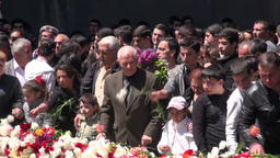 Armenia, laying flowers at genocide memorial monum Footage