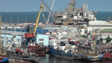 Oil platform under construction in harbor of Baku Footage