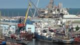 Oil platform under construction in harbor of Baku Footage