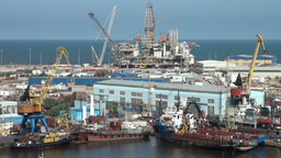 Oil platform under maintenance in Baku, Azerbaijan Footage