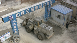 Overhead Shot Of Yellow Machine In China stock footage
